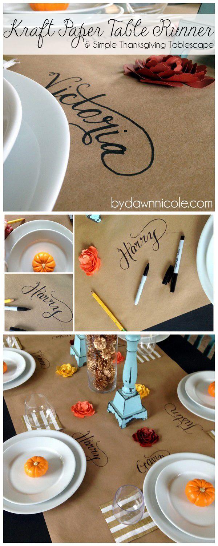 Easy Kraft Paper Table Runner & Simple Thanksgiving Tablescape   bydawnnicole.com