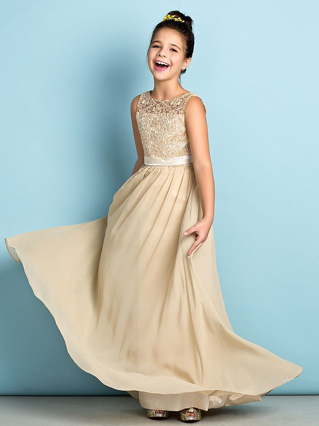Floor-length Chiffon / Lace Junior Bridesmaid Dress - Champagne A-line Scoop - USD $79.99
