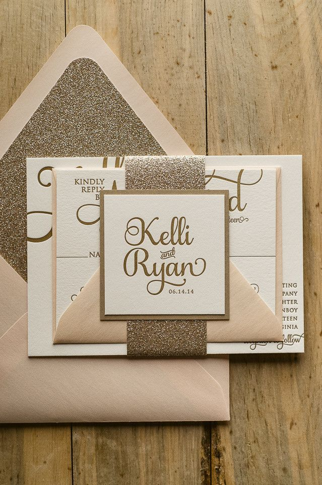 Gold, cream and white glitter wedding invitation. Simple. Calligraphy. Elegant. Glitter lined envelope.