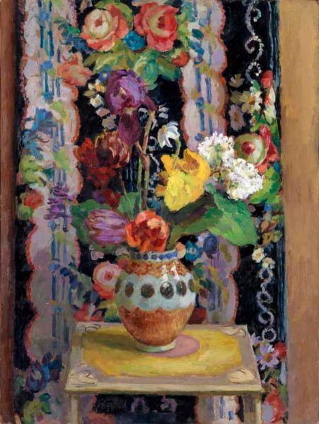 Duncan Grant - Flowers Against Chintz, 1956