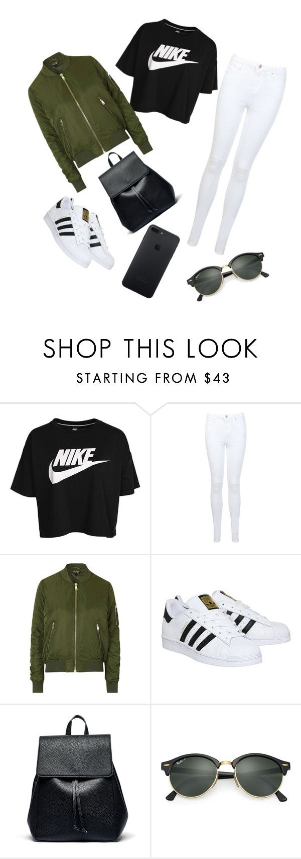 """""""School Outfit"""" by ayshamh ❤ liked on Polyvore featuring NIKE, Miss Selfridge, Topshop, adidas, Sole Society and Ray-Ban"""