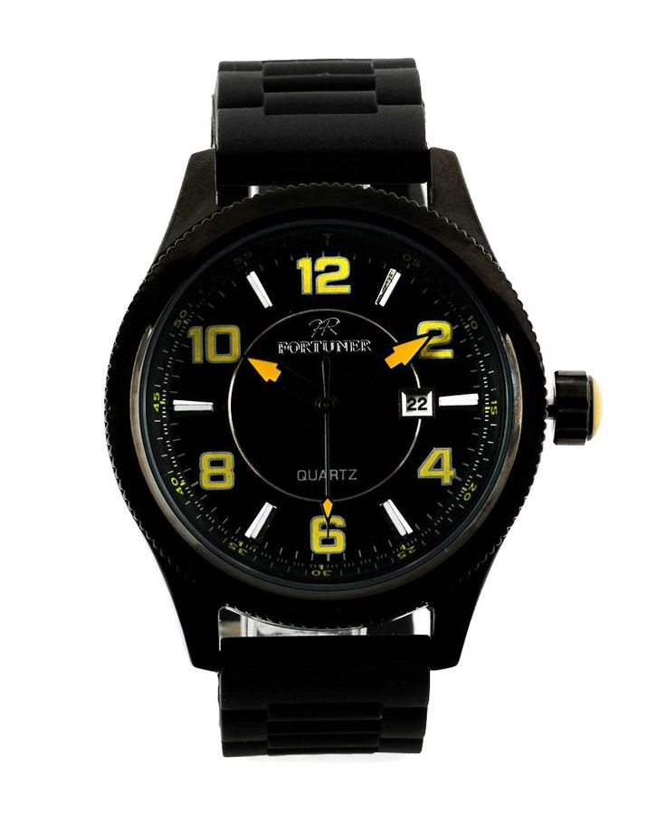Round Watch by Fortuner. Watch with a moderns design with a combination of bold color, stainless steel case, rubber strap, black watch with a combination of yellow color, water resistant, adjustable strap, a simple accessory to match your outfit. http://www.zocko.com/z/JHqvX