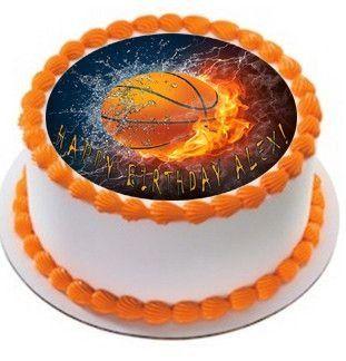 Basketball Fire Edible Birthday Cake Topper OR Cupcake Topper, Decor - Edible Prints On Cake (Edible Cake &Cupcake Topper)
