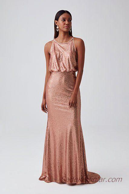 47f35b968e42e 2019 Abiye Elbise Modelleri Somon Uzun Kolsuz Üst Kısmı Salaş Pul Payetli