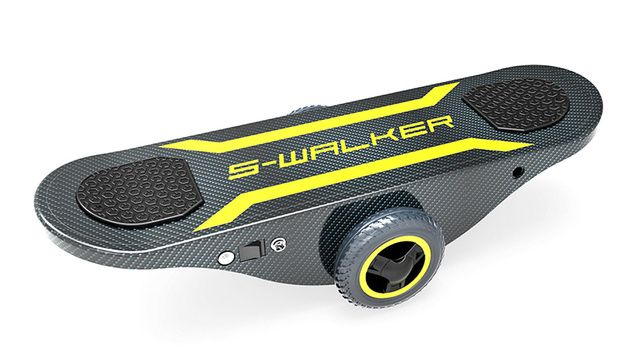 S-Walker Board - Akin to a balance board with wheels fixed at the center of the deck in place of a moving rocker, the S-Walker Board packs a gyroscope and, like the Segway, translates the forward or backward lean of the rider into movement of the wheels, so that the more you lean, the faster it goes.