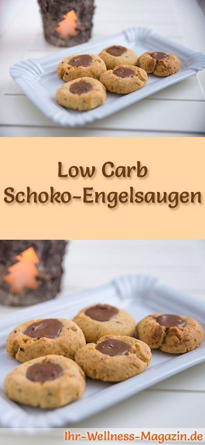 Low-Carb-Weihnachtsgebäck-Rezept für Schoko-Engelsaugen: Kohlenhydratarme, kalorienreduzierte Weihnachtskekse - ohne Getreidemehl und Zucker gebacken ... #lowcarb #backen #weihnachten