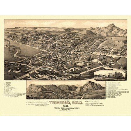 Old Map of Trinidad Colorado 1882 Las Animas County Canvas Art - (18 x 24)