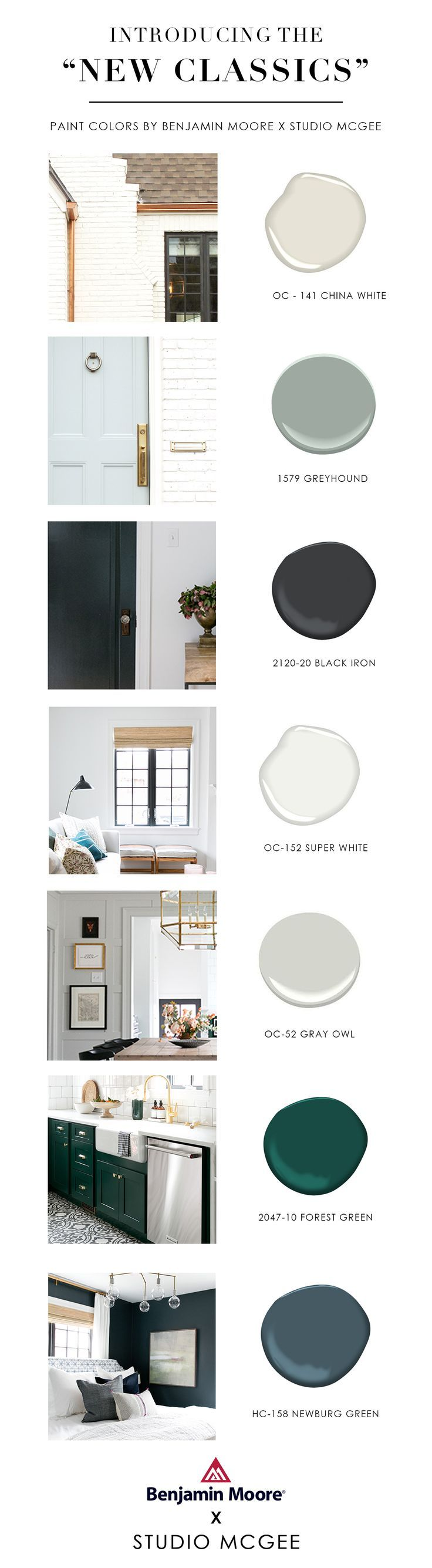 Exterior paint color palette, black door paint color palette, home exterior paint colors architecture, painted brick white brick, Benjamin Moore paint