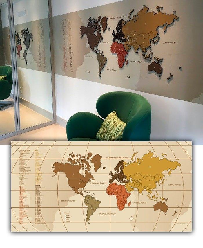 Mapa Interativo MDF - Tons Terrosos - Interativos - Mapas em MDF - Mapas
