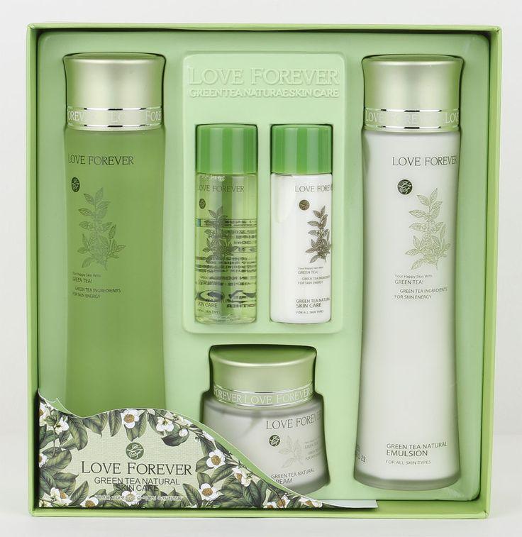 LOVE FOREVER Green tea natural skin care set korean beauty Toner emulsion cream #LOVEFOREVER