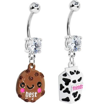 Clear Gem Cookie and Milk Best Friends Dangle Belly Ring Set | Body Candy Body Jewelry