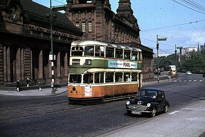 1968 Ligeti Ramifications: A Glasgow Corporation tram outside the Kelvin Hall in the 1960s