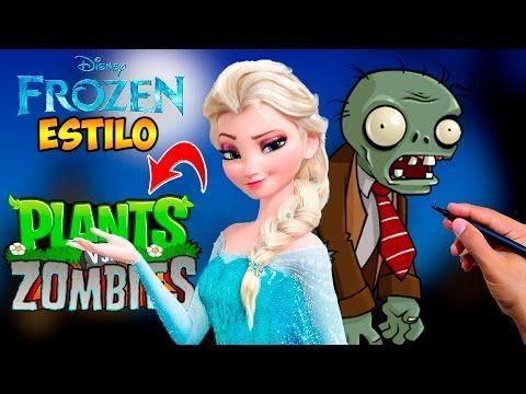 Cómo Dibujar a Elsa (Frozen Fever) estilo Zombie│Plants vs zombies - Hallowen  Videos  - YouTube