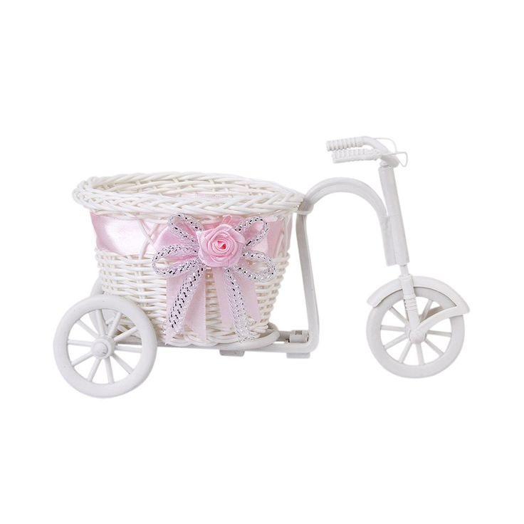 EYFL 2016 Hot Sale New Plastic White Tricycle Bike Design Flower Basket Container For Flower Plant Home Weddding Decoration