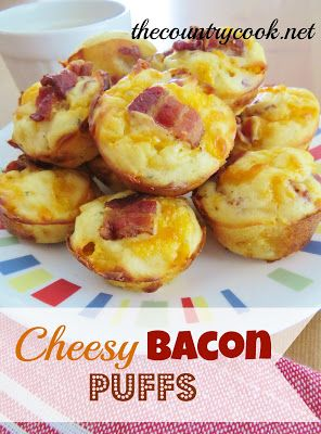 Oh my god... get in my belly!! The Country Cook: Cheesy Bacon Puffs