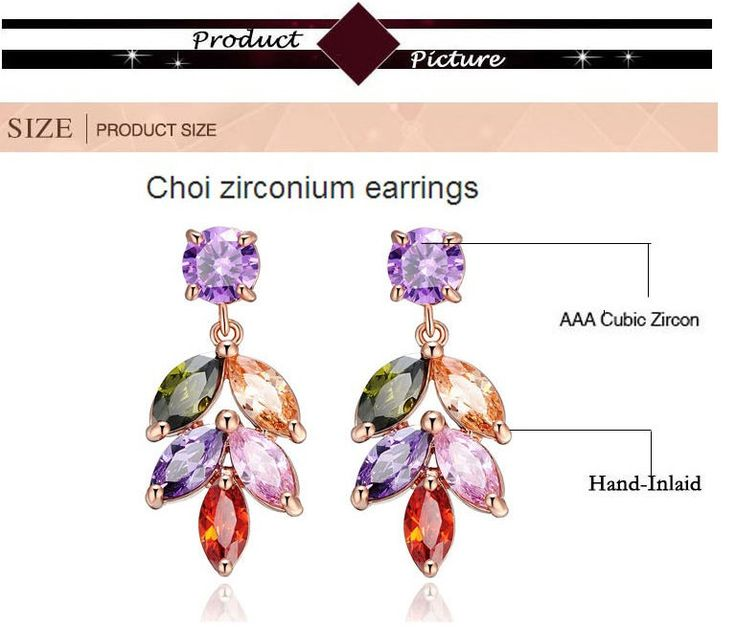 Luxury Leaves Shape Multi-color Zircon Mosaic Rose Gold Plated Lady Earrings #Handmade #ChainLink