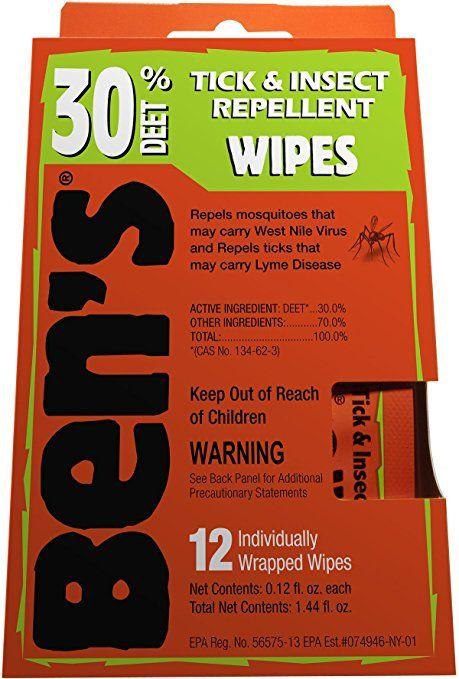 Ben's 30 Percent DEET Insect Repellent Wipes, 12-count