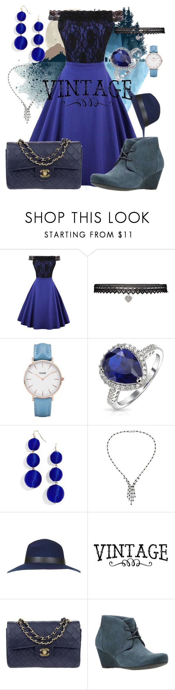 """vintage blue"" by mmgrimshaw ❤ liked on Polyvore featuring WithChic, Betsey Johnson, CLUSE, Bling Jewelry, BaubleBar, Susan Caplan Vintage, Topshop, Chanel, Clarks and vintage"