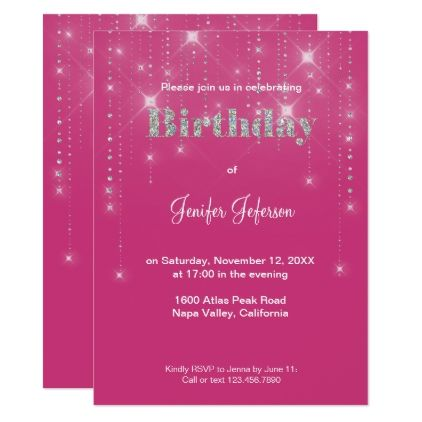 Glitter pattern Birthday Invitation - glitter gifts personalize gift ideas unique