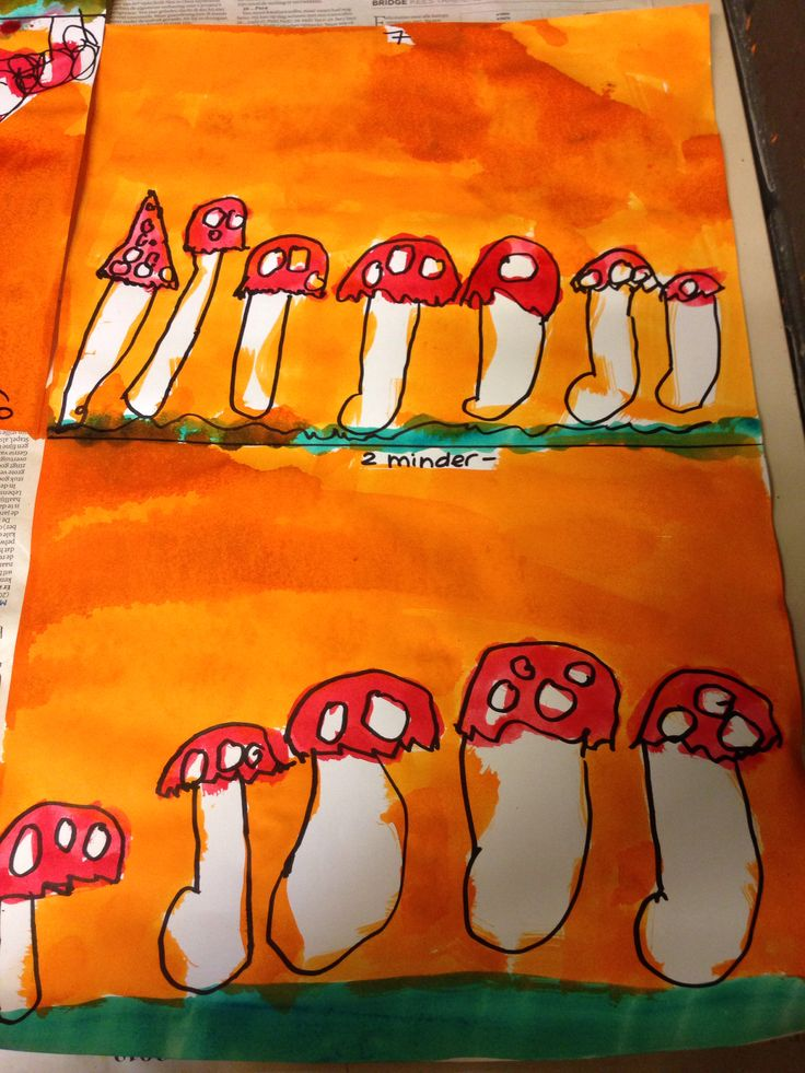 Herfst werkje voor groep 2. Aantal boven en minder/meer beneden. Met stift en ecoline.   Fall/Autumn craft preK and K1. A number above to draw and in the second area more/less to draw. With a thick black marker and water coloring.