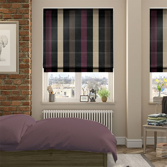 Silken Stripe Aubergine Roman Blind from Blinds 2go