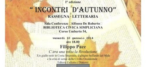 """Cultura: Riprendono gli appuntamenti della rassegna letteraria """"Incontri d'autunno""""."""