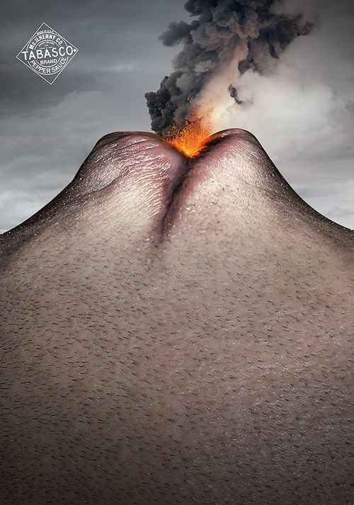 i thought this was a really interesting idea, the tabasco is so hot that your mouth is compared to a volcano. such a simple idea and yet so interesting to look at.