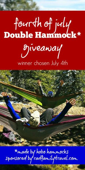July 4 Double Hobo Hammock giveaway!  Winner chosen on Independence Day 2017! Sign up to win the best camping hammock, complete with hanging straps.  Perfect for family summer vacations and hanging around your backyard, everyone will want their own.