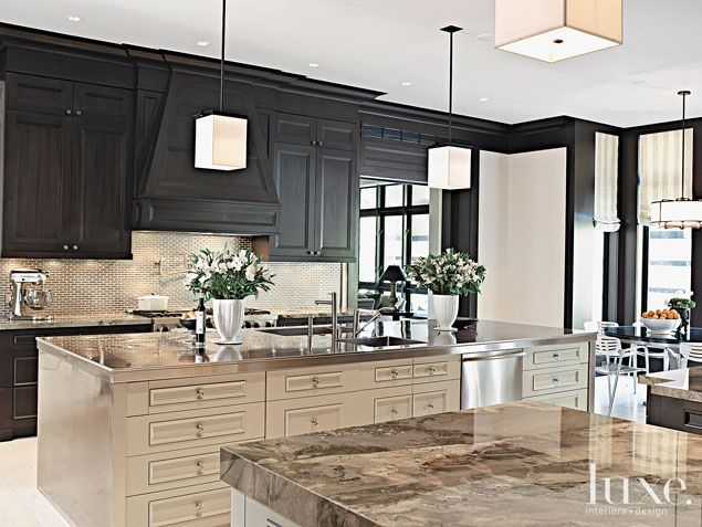 A Coral Gables, FL home's chic #kitchen. | See MORE at www.luxesource.com. | #luxemag #interiordesign #design #interiors #homedecor