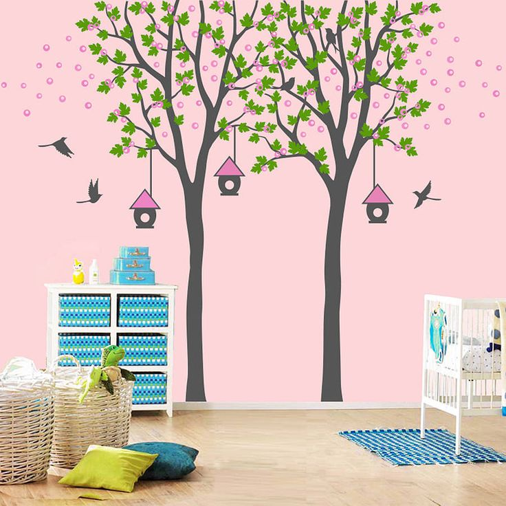 I've just found Twin Trees With Birdhouses. Twin trees with birdhouses wall decal.. £105.00