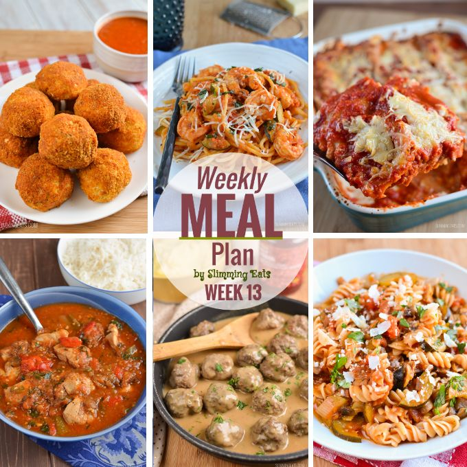 Slimming Eats Weekly Meal Plan - Week 13