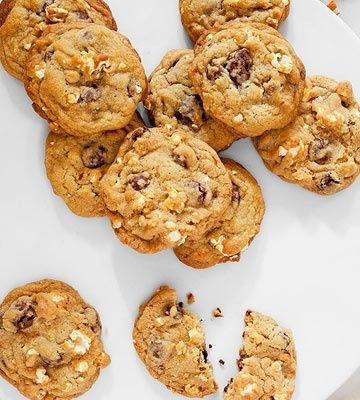 Blockbuster cookies make for the perfect movie night treat. Concession stand staples popcorn and Raisinets add a tasty salty/sweet flavor to this recipe, from our pals at Family Fun Magazine.