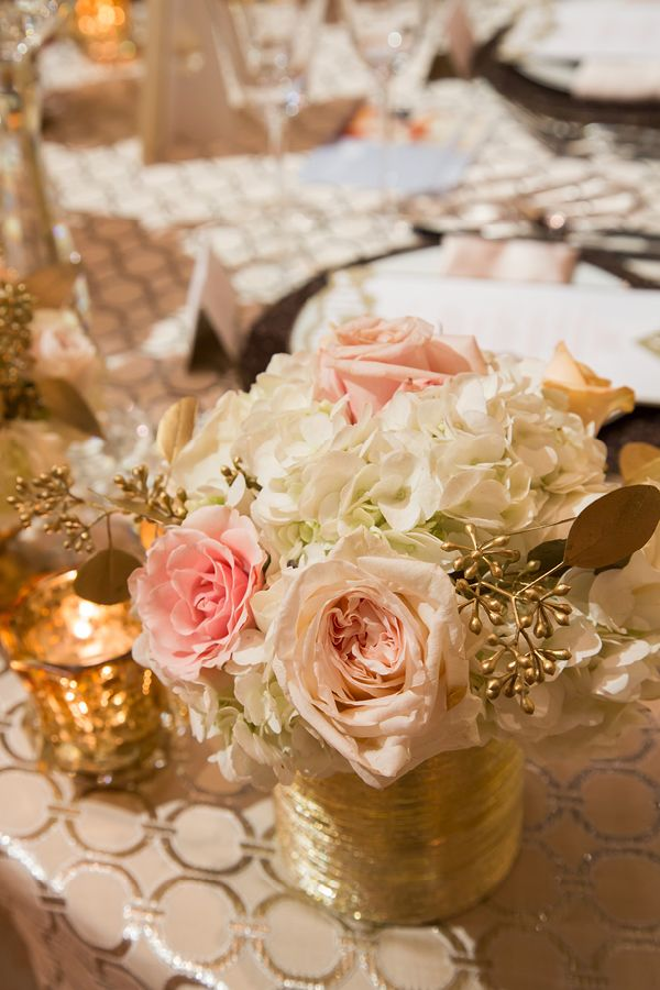 Blush, Gold, and Champagne Centerpieces | Champagne Wishes and Botanical Dreams at Casa Amore 2014
