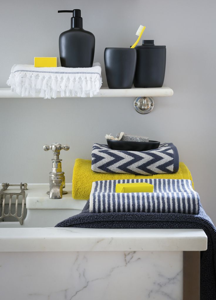 This Betty Jackson collection of cool blues and yellows is great for a pop of colour in your bathroom. #SS14 #Home