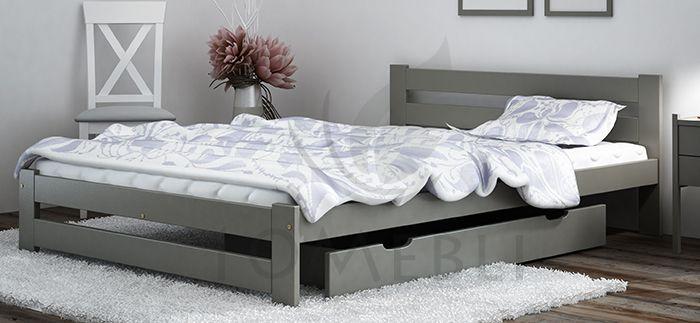 Szare łóżko drewniane wykonane z drewna sosnowego może być dobrym pomysłem dla osób ceniących prostotę i nowoczesność. Łóżko posiada też wyższy zagłówek zapewniający właściwe podparcie poduszki. #łóżko #łóżkososnowe #Łóżkodrewniane #Stelaż
