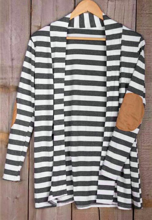 Get this striped classic with $21.99 Only&easy return&free shipping! This suede patch cardigan is a perfect match for white T-shirt/jeans! Show off with Cupshe.com