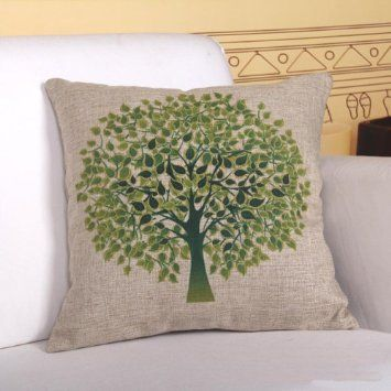 Jastore Cotton Linen Green Tree on Both Side Decorative Thick Pillow Cushion Cover Pillowcase 18-by-18-inches (18x18 Inches)