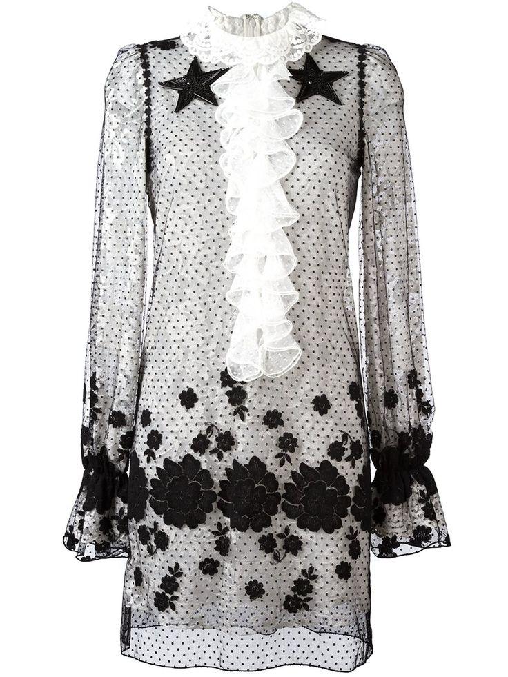 Giamba прозрачное платье с вышивкой