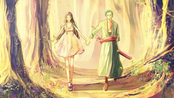 Nico Robin and Roronoa Zoro One Piece Art Wallpaper