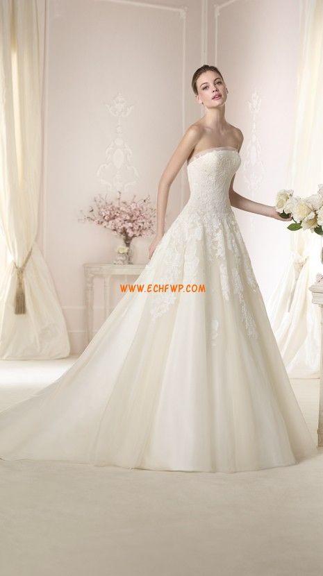 Bez ramínek Jaro Přírodní Svatební šaty 2015