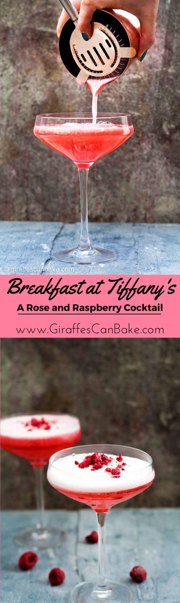 Breakfast at Tiffany's - a Rose and Raspberry Cocktail. An easy and elegant vodka cocktail that is perfect for your next girls night, baby shower, wedding shower, brunch or dinner party