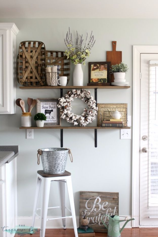 DIY Farmhouse Style Decor Ideas - Farmhouse Shelves Decor - Rustic Ideas for Furniture, Paint Colors, Farm House Decoration for Living Room, Kitchen and Bedroom http://diyjoy.com/diy-farmhouse-decor-ideas