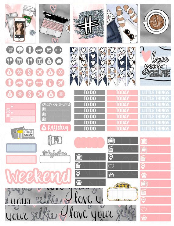Printable planner stickers love your selfie weekly kit for erin condren mambi happy planner glam planning pdf jpg print at home blog girl