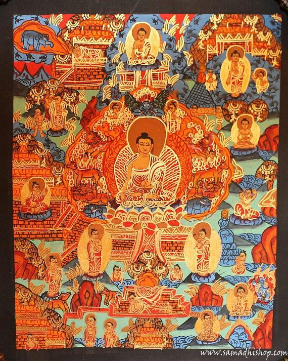 Buddha's life thangka painting 20x25 cm by samadhishopcom on Etsy