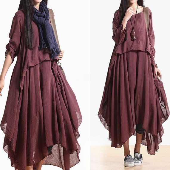 2014 New  3/4length sleeve  Asymmetrical cotton dress casual dress boho dress maxi dress N-309