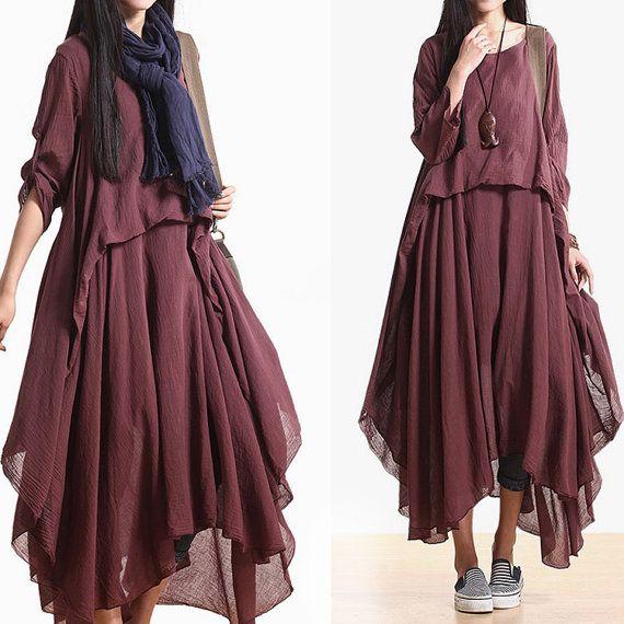 2014 New  3/4length sleeve  Asymmetrical cotton dress casual dress boho dress maxi dress N-309