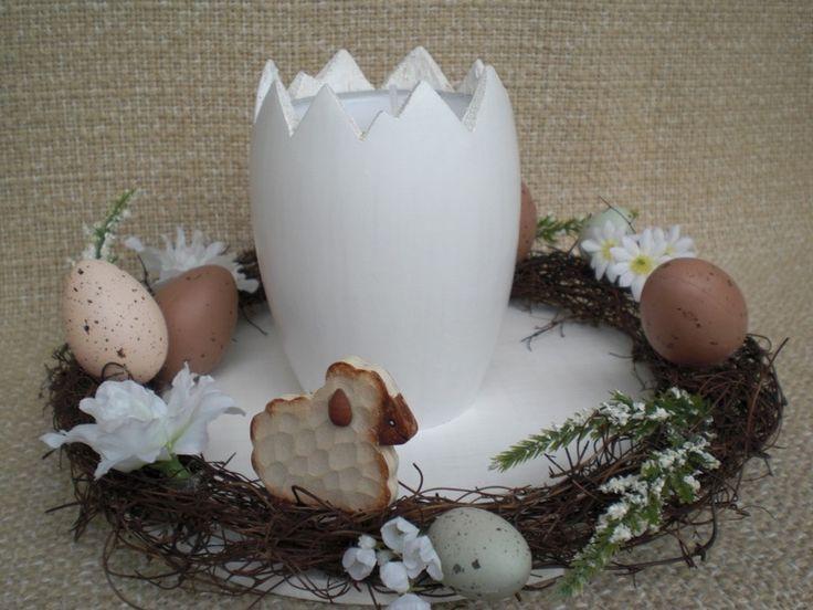 großer+Teelichthalter+in+weiß+für+Ostern+von+Pfiffiges+aus+Heu,+Wolle+und+Holz+auf+DaWanda.com