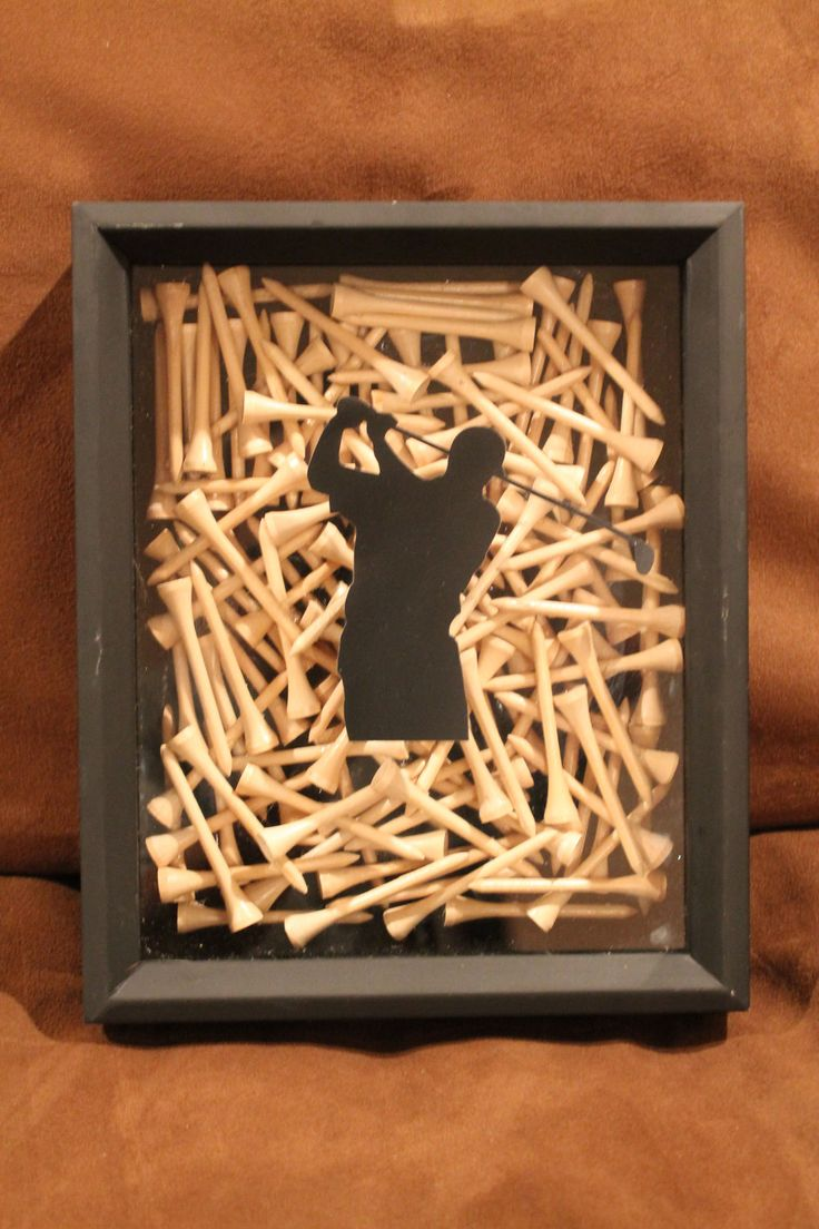 Black Shadow Box Golf Display, Handmade With Golf Tees For Home Decor Or  For The Office Of Any Golfer