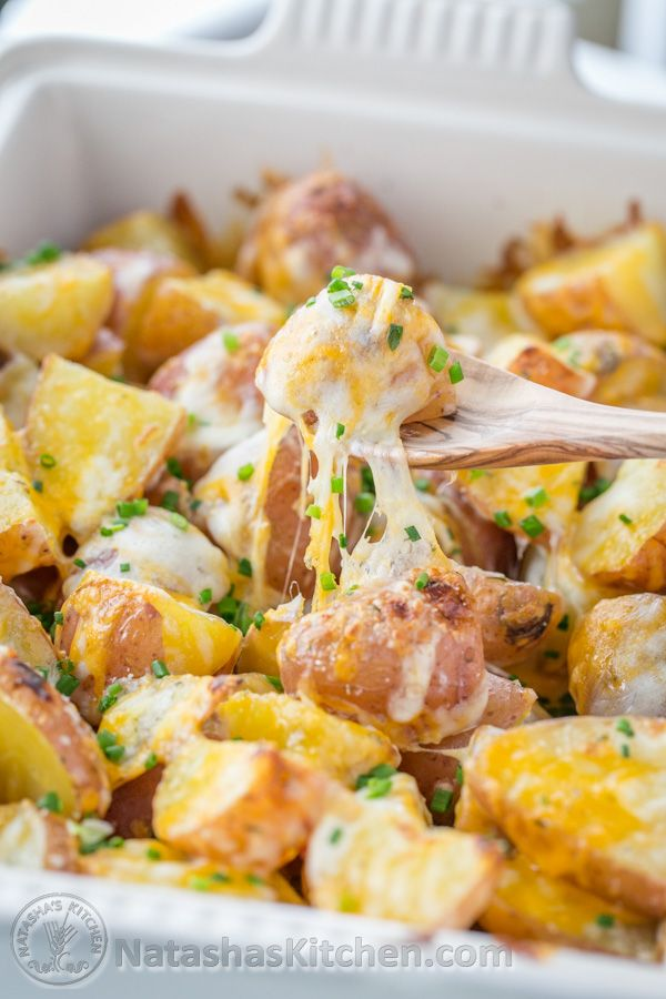 Baked Cheesy Ranch Potatoes (Just 4 Ingredients!)