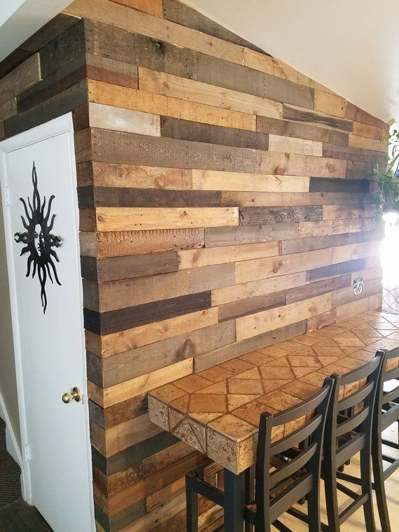 Pre Stained Pallet Wood Accent Walls Etsy Wood Accent Wall